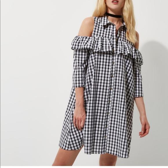 Womens Brown stripe cold shoulder frill shirt dress River Island hIBe4SHjT